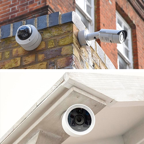CCTV cameras mounted on a brick wall outside a commercial property (top) and and IP camera mounted on a residential eave.