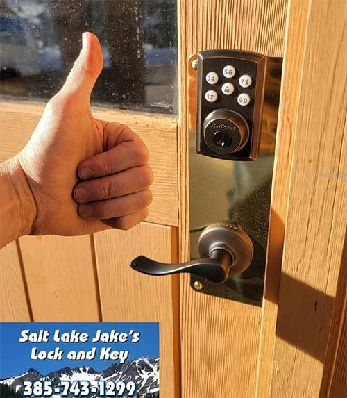 image of a keypad lock and handle