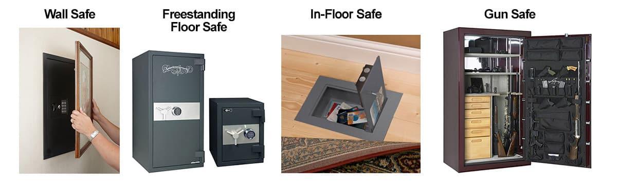 Image of four types of safes: wall, freestanding floor safe, in-floor safe, and gun safe.